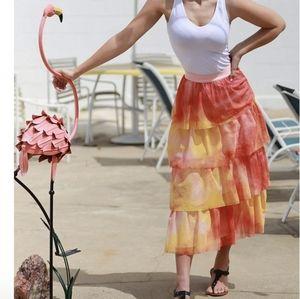 NWT Eva Franco Esperanza Tiered Tulle Midi Skirt